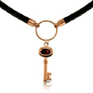 GOLD & LEATHER KEY NECKLACE WITH GARNET